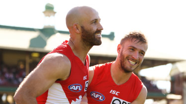 Last respects: Jarrad McVeigh and Kieren Jack run onto the field for their last match for Sydney at the SCG.