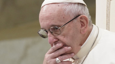 Pope Francis is caught in pensive mood during his weekly general audience at the Vatican.