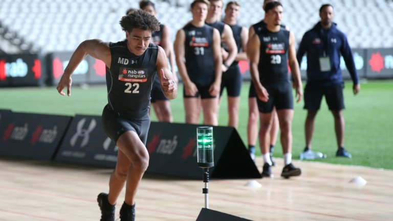 The Oakleigh Chargers' Isaac Quaynor at this year's AFL draft combine.