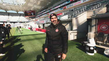 Home, sweet home: Markus Babbel takes in Western Sydney's  new digs at Bankwest Stadium.