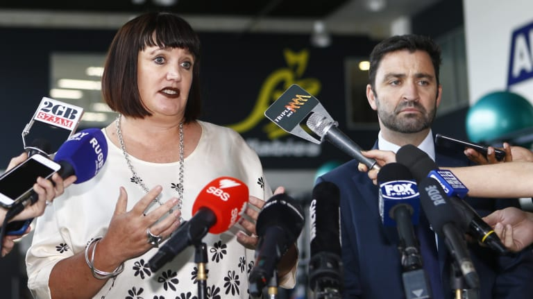 Complicated: Rugby Australia CEO Raelene Castle and NSWRU boss Andrew Hore spoke to the media after a meeting with Folau this week.