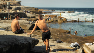 Swimmers at Maroubra take advantage of the warm weather.