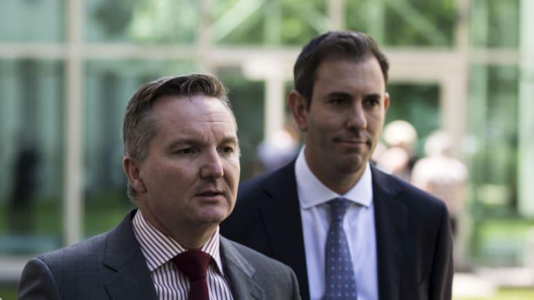 Shadow treasurer Chris Bowen and Shadow Finance spokesman Jim Chalmers.