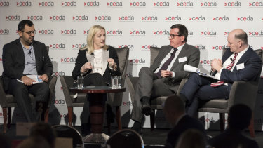 McKinsey & Company associate partner Hassan Noura, Australia Post chief executive Christine Holgate, Melbourne Business School Dean Professor Ian Harper, McKinsey & Company's David Dyer at a CEDA event on Australia's automated future on June 19.