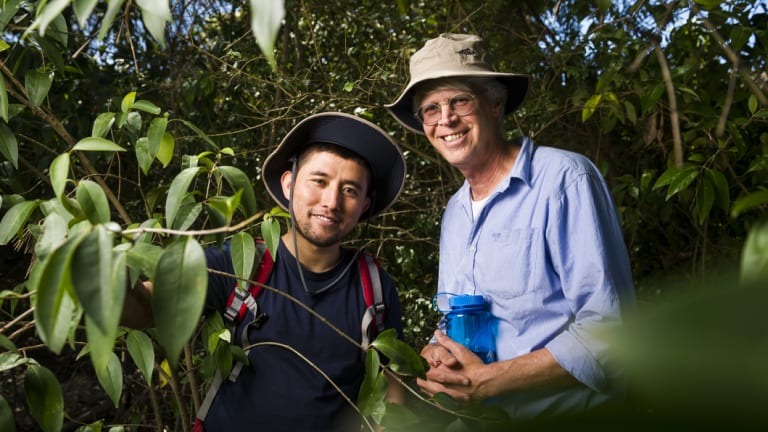 Afghani refugee and hiking participant Nazir Rahimi with First Hike Project coordinator McComas Taylor.