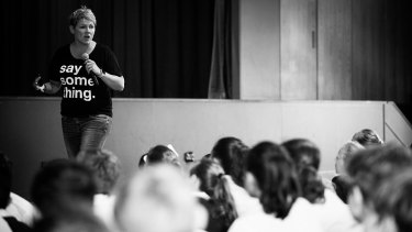 Rachel Downie exhorts school students to 'say something' about cyber bullying.