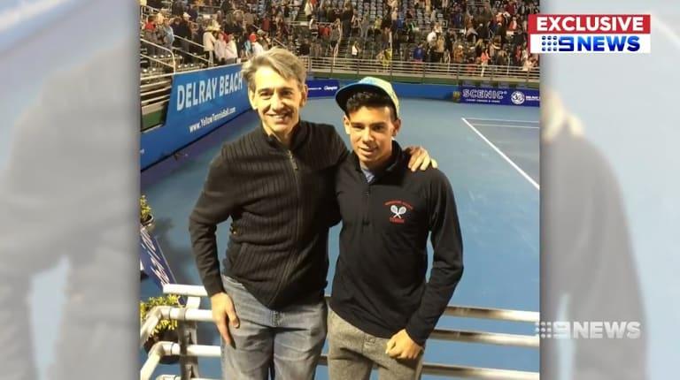 Tennis fans Edmund Pribitkin and his teenage son Edik.