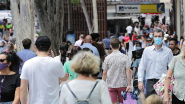 Most people in Brisbane's CBD have complied with the requirement to wear masks.