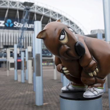 The new fibreglass sculpture of Fatso the Fat-Arsed Wombat from Roy & HG's The Dream.