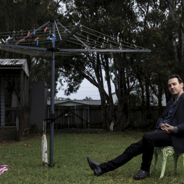"Ewen Leslie at his current base in Culburra Beach, on the NSW South Coast. ""When he does get that role that makes him a household name in America, it will be because they wanted him,"" says his friend, performer Tim Minchin."