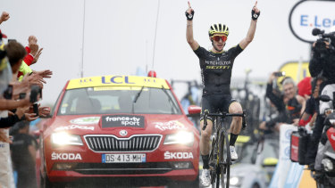 Headline act: Simon Yates crosses the finish line to win the 15th stage in Prat d'Albis.