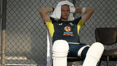 Steve Smith trains before the first Test against Pakistan at the Gabba.