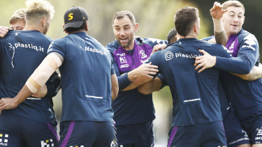 Cameron Smith and the Storm players train on Tuesday.