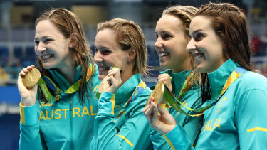 Special moments: Cate Campbell, Bronte Campbell, Emma McKeon and Brittany Elmslie celebrate gold in the 4x100m freestyle relay at the Rio Games in 2016.