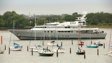 Lord Sugar's superyacht 'Lady A' leaving Portsmouth Harbour, Hampshire, UK.