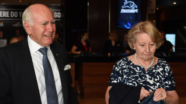 Former prime minister John Howard and wife Jeanette arrive for the NSW Liberal campaign.