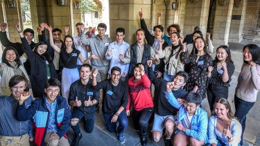 Dozens of students who received 99.90 congregated at the University of Melbourne on Thursday.