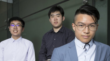 The top three maths students (from left to right): Phillip Liang (James Ruse Agricultural School); Ze Hong Zhou (St Patrick's College, Sutherland); and Christopher Ta (Sydney Boys High School).