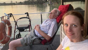Kristin Cornell with her father Allan Cornell on the Murray River not long before he died.