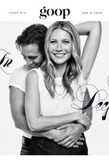 Gwyneth Paltrow and her fiancé, Brad Falchuk, on the cover of Goop magazine's second issue.