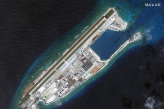 Fiery Cross Reef in the Spratly Islands has been fully developed by China. President Xi Jinping told then US president Barack Obama in 2015 that China would not build military fortifications on several artificial islands in the South China Sea.