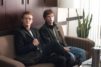 Justin Timberlake as Sean Parker, left, and Jesse Eisenberg as Mark Zuckerberg in The Social Network.
