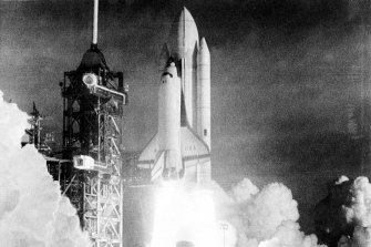The Columbia takes off on April 12, 1981.