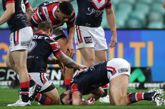 Boyd Cordner goes down after yet another a head knock.