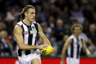 Darcy Moore relished his role in defence for Collingwood on Saturday.