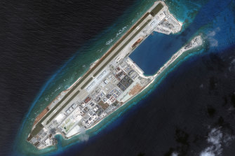 A 2017 satellite image of one of the islands in the Spratly chain.