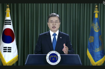 South Korean President Moon Jae-in speaks in a pre-recorded message that was played during the 75th session of the United Nations General Assembly.