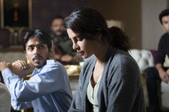 Adarsh Gourav, Priyanka Chopra Jonas and Rajkummar Rao in The White Tiger.