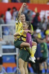 Victorious: Chloe Logarzo celebrates the big win.