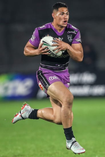 Running man: Roger Tuivasa-Sheck ran for almost 300m in the win over the Knights.