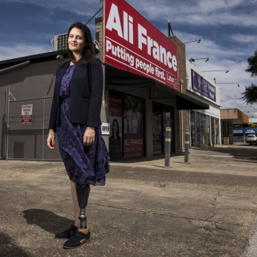 Labor's candidate for Dickson, Ali France, lost her leg in a horrific accident in 2011.