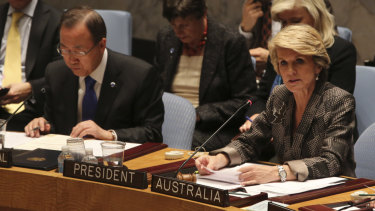 Julie Bishop chairs the UN Security council in 2013, soon after becoming foreign minister.