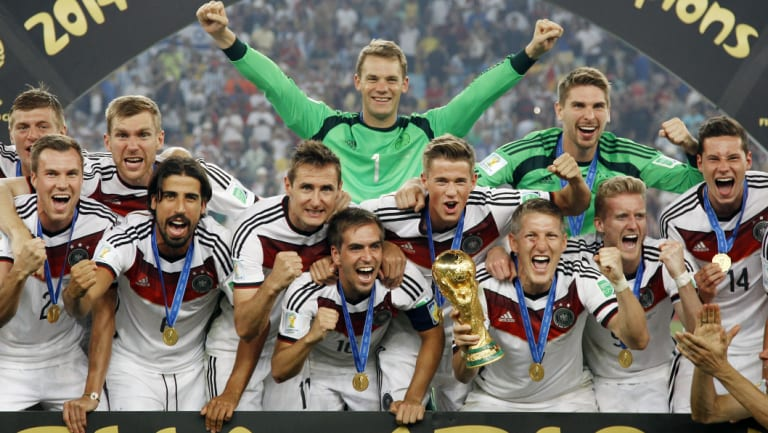 Flashback: The German squad celebrate four years ago.