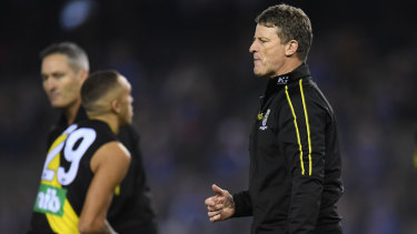 Tigers coach Damien Hardwick says his team was 'manhandled' by the Roos.