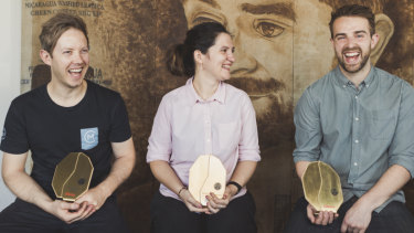 Winner of the Australian Barista Championships Matthew Lewin, Brewer's Cup Champion Yanina Ferreyra, and Hugh Kelly who came second place in the Australian Barista Championship.