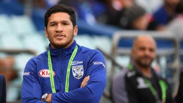 In the kennel: Dallin Watene-Zelezniak watches his new club on Monday.