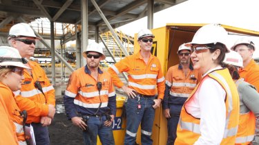 Annastacia Palaszczuk meeting with workers at Hay Point terminal this week.