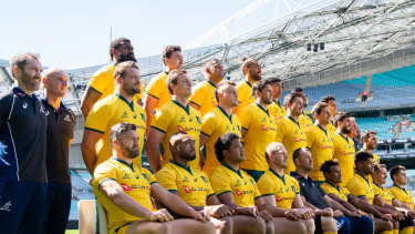The Wallabies players pose for their photo at ANZ Stadium.
