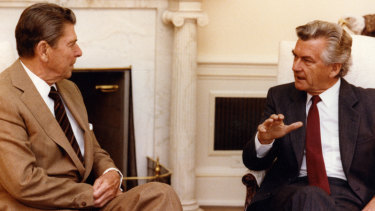 The comfort of leadership ... Ronald Reagan with Bob Hawke during their time in power.