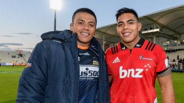 Allan and Mike Alaalatoa after the Brumbies lost to the Crusaders in Super Rugby earlier this year.