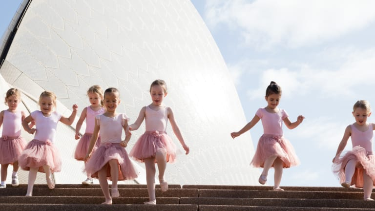 Young ballerinas gather at the Sydney Opera House.