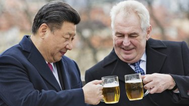Czech Republic's President Milos Zeman, right, clinks glasses with Chinese President Xi Jinping.