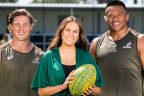 Wallabies captain Michael Hooper and prop Allan Alaalatoa with Olivia Fox, who will sing the Australian national anthem in the Eora language of the Gadigal people before the Wallabies play Argentina at Bankwest Stadium on Saturday.