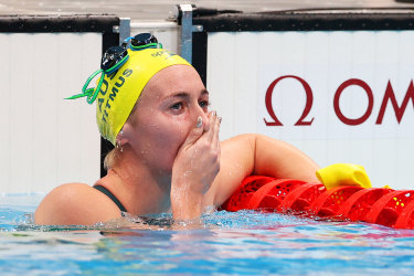 Ariarne Titmus reacts after winning the 400m freestyle.