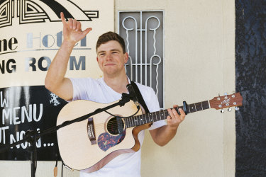 Buskers like Oscar Litchfield have lost a large part of their income during the coronavirus lockdowns.
