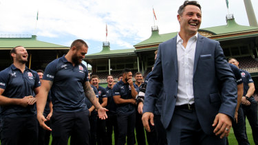 The entire Roosters squad gathers for Cooper Cronk's retirement announcement on Monday.
